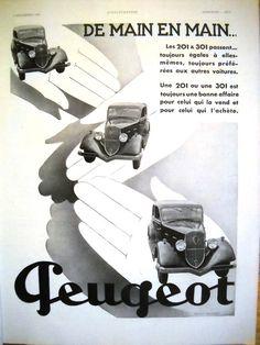 PEUGEOT automobiles ad, original vintage advertisement from LIllustration 1933 #bestofEtsy #etsyretwt