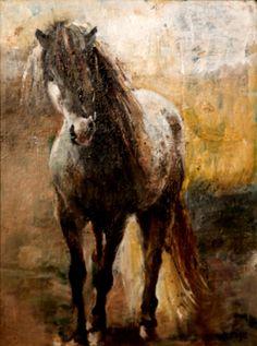 "Painting  ""Curious Horse"" oil on canvas. Deborah Reese."