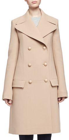Chloe Double-Breasted Wool Crepe Coat