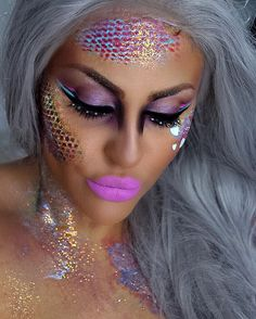 """иєℓℓу on Instagram: """"I used a fish net to create my scales for all of you who asked me  layering definitely is the trick! . @vegas_nay @toofaced star dust tour palette on my eyes, @makeupforeverofficial flash palette to create the scales and glitter pot number 3, @anastasiabeverlyhills dip brow pomade in auburn, creme liners in ice blue and Barbie to outline my eyes, @sigmabeauty gel liner in wicked, @colourpopcosmetics liquid matte lipstick in koala. #arabiiandoll"""""""