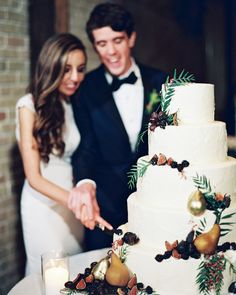A Romantic, Urban Wedding in Austin, TX | Martha Stewart Weddings - Sweet Treets Bakery created the newlywed's five-tiered, stucco-textured cake, which alternated between vanilla and red velvet flavors. Adorning the confection were figs, blackberries, and gold-leafed pears.