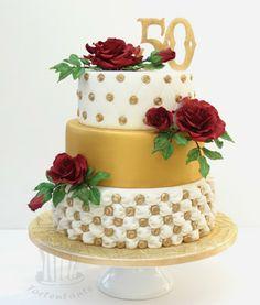 Torte zur Goldenen Hochzeit - nix mit schlicht ;-)