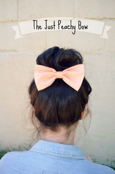 Peach colored Hair Bow by myjustpeachyshop on Etsy, $3.99