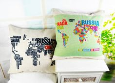 "* 18 "" Decorative Linen Throw Cushion Cover Ikea The Word Map Pillow Cover Pillow Case for Sofa Almofadas g Pillow Cover Design, Pillow Covers, Word Map, Home Textile, Ikea, Cushions, Textiles, Throw Pillows, Embroidery"