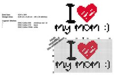 Amo la mia mamma schema punto croce Festa Della Mamma Simple Cross Stitch, Cross Stitch Baby, Cross Stitch Patterns, Easy Pixel Art, Red Christmas, Mom And Dad, Chart, Crochet, Cross Stitch Font