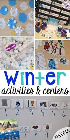 Snowman at Night FREEBIE plus my go to Winter themed math, writing, fine motor, sensory, reading, and science activities for preschool and kindergarten. #wintertheme #preschool #prek