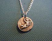 Cupid Necklace - Rustic, Hand Formed and Molded - Pure Silver Cupid Charm on a Sterling Silver Chain