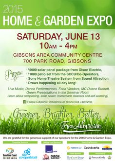 Home and Garden Expo Saturday June 13, Gibsons, Sunshine Coast BC. http://coastbuilders.ca/home-garden-show/