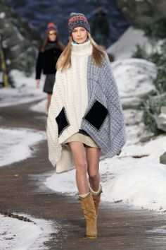 tommy hilfiger poncho from Fall 2014 collection Tommy Hilfiger, Fall Fashion Outfits, Knit Fashion, Fashion 2014, Winter Outfits, Cashmere Wrap, Ny Collection, Cold Weather Outfits, Shearling Coat