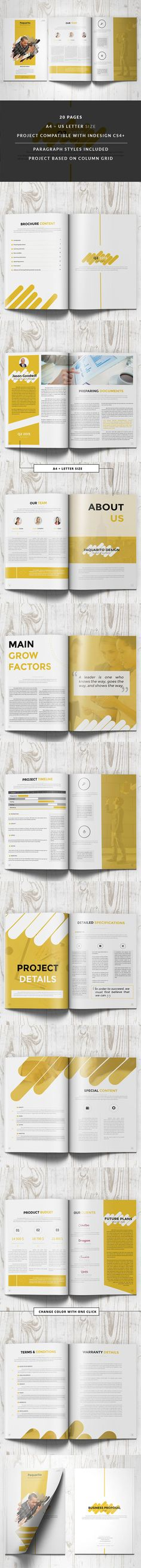 Project Proposal Brochure 22 Unique Layouts Template InDesign INDD - project proposal