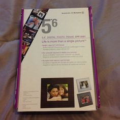 """NIB 5.6"""" Digital Photo Frame New in box, never opened.  Digital photo frame from Westinghouse. Includes 3 interchangeable frames: Mahogany, Black and Brushed Aluminum. AC/DC power supply. Built in 8 MB flash memory. Other"""