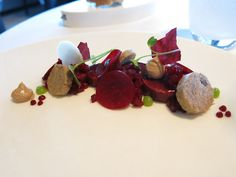 Sel Gris  // Combination of goat cheese with duck liver, various beetroot structures , blackcurrant and apple.