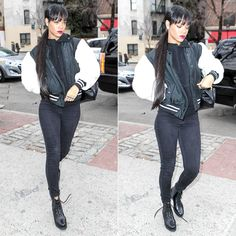 Rihanna wearing Rihanna for River Island fur sleeve bomber jacket, Walter Steiger lace-up ankle boots.