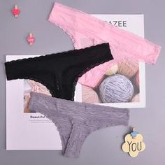 Xiaojmake Women Lace Open Crotch Pearl Massage T Back Thongs G-String Panty Underwear