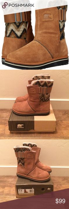 """BRAND NEW * Sorel boots Leather and synthetic. Synthetic sole Shaft measures approximately 8.5"""" from arch Boot opening measures approximately 13"""" around. Water-resistant boot featuring chevron-patterned shaft with logo patch at front. Adjustable canvas buckle strap at back EVA footbed with arch support. Sorel Shoes Winter & Rain Boots"""