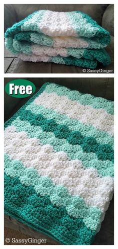 This Shell Stitch Baby Blanket Free Crochet Pattern is made with red heart yarn and can be made with three stripes, two stripes, or solid color. Crochet Shell Pattern, Crochet Baby Blanket Free Pattern, Crochet Shell Stitch, Baby Afghan Crochet, Crochet Motifs, Afghan Crochet Patterns, Baby Patterns, Kids Crochet, Red Heart Free Patterns
