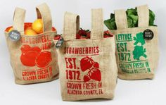 Grad students Catalina Rozo & Melissa Clinard created these burlap bags for Market Grown, a clever campaign to help local farmers in Alachua County, Florida.