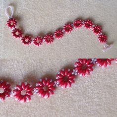 I made... Super duo daisy bracelet. Peyote toggle and loop clasp. Dark coral super duos and pale pink seed beads size 11.