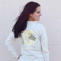 Our classic long sleeve tee! Super soft with a comfortable fit and the perfect length for pairing with your favorite leggings or jeans. Foil prints are designed to look distressed over time, creating