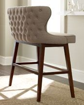 Instead of bar stools get cozy with this tufted bar bench!