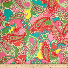 Bahama Breeze Paisley Punch Pink/Coral from @fabricdotcom  Designed by Maria Kalinowski of Kanvas for Benartex Fabrics, this cotton print is perfect for quilting, apparel and home decor accents. Colors include green, shades of pink, coral, yellow and teal.