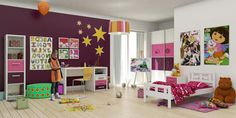 http://trainingjo.com/wp-content/uploads/2014/11/Colorful-kids-bedroom-design-with-pink-floral-duvet-cover-and-yellow-star-wall-decal-on-purple-paint-wall-as-well-striped-round-pendant-lamp-and-white-study-table-beside-white-curtain.jpg
