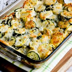 Low-Carb Easy Cheesy Zucchini Bake found on KalynsKitchen.com