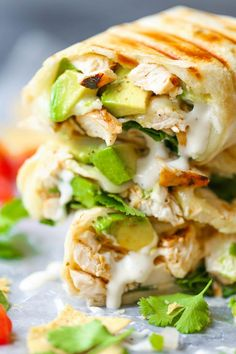 Chicken and Avocado Ranch Burritos - These come together with just 15 min prep! You can also make this ahead of time and bake right before serving. SO EASY!