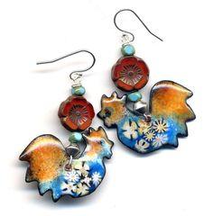 Rooster Enamel Earrings, Sterling Silver Earrings, Unique Enamel Floral Earrings, orange teal red Earrings, Poppy and Hen handmade by Anna