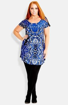 City Chic 'Bam' Print Front Tunic (Plus Size) available at #Nordstrom