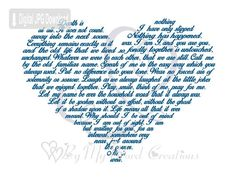 Memorial Poem Heart Art makes a unique keepsake. This Bereavement Poem Heart word art will be customized to your specifications. Your finished high resolution 600 dpi JPEG file can be used to print a frameable art work, a card, or your own unique item, such as a mug or cushion. You can print your file as often as you like in a variety of formats. At this resolution a print as large as 16 X 20 is possible.  [HOW IT WORKS]  Add item to basket and checkout through Etsy. In the Note To Seller…