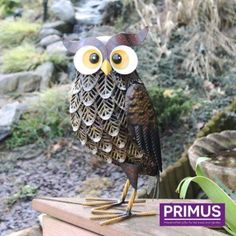 New Woodland Owl Decorative Garden Sculpture Statue Bird Ornament Large