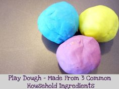 Just 3 ingredients, and 5 minutes to make. I like the texture better than store bought play dough.