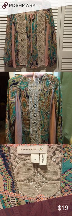 Meadow Rue Peasant Blouse   Lovely, graceful and feminine design. Fabric detailing is exquisite and yet it is hand washable! In EUC with no signs of wear. Beautiful! (Size M/6) Anthropologie Tops Blouses