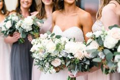 green white and blush wedding bouquets grey and blush bridesmaid dresses sweetheart neckline roses