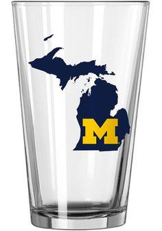 Michigan Wolverines State Logo Pint Glass