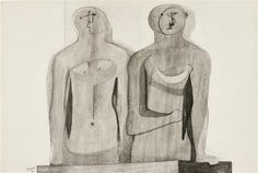 Artwork by Henry Moore, TWO HALF FIGURES, Made of pen and ink, charcoal and watercolour