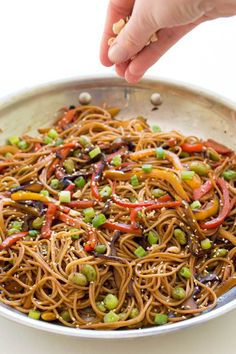 Rainbow Vegetable Noodle Stir-Fry is a quick and healthy weeknight dinner that takes less than 20 minutes to make!