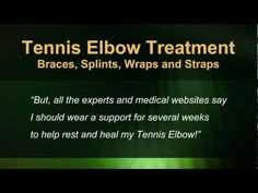 """Should your Tennis Elbow treatment include wearing a brace, band or support? Most of the time, NO - Learn why treating your elbow this way won't help it heal (even though most medical websites, """"experts"""" and blogs will tell you to wear one to help """"Rest, protect and heal"""" your tendons.) Watch and learn why it doesn't make sense and isn't  such a good treatment after all. Article, video and slideshow at…"""