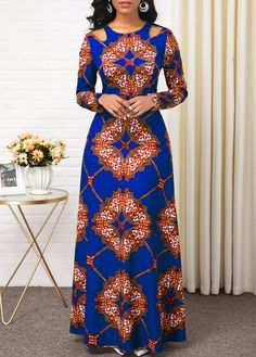 Women'S Green Tribal Print Long Sleeve High Waisted Dress Muslim Maxi Evening Party Dress By Rosewe High Waist Long Sleeve Tribal Print Dress Long African Dresses, Latest African Fashion Dresses, African Print Dresses, African Print Fashion, Women's Fashion Dresses, Ankara Fashion, Ankara Dress Styles, Fashion Styles, Ankara Gowns