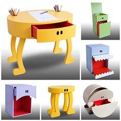 Móveis criativos. Mesinha infantil, criado, organizador de brinquedos. Esta são algumas das suas utilidades. Lindos e funcionais!!!!!