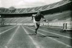 "••Jesse Owens•• Olympic Legend - sprinting champion at 1936 Berlin Olympics had more hurdles to handle post-medals! • depicted: 1935 at Ohio Stadium • ""Jesse Owens: Enduring Spirit"" documentary by WOSU-TV 2012-01 • b. 1913 Sep 12 Oakville, Alabama / d. 1980 Mar 31 Tucson, Arizona / Buried in Oak Woods Cemetery, Chicago, IL • 5'10"" / 165lbs • nickname: The Buckeye Bullet • siblings: 6 brothers / sisters • children: Gloria / Beverly / Marlene • off'l site: http://www.jesseowens.com"