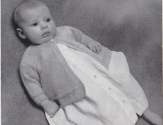 Vintage Knitting Pattern Instructions for Babies 1st 6 Month Raglan Matinee Coat