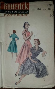 Vintage 1950s Dress Pattern ~ Full Skirt ~ V-Neckline ~ Rolled Collar ~ Bust 34 ~ Butterick 6946 by VivsVintageSewShop on Etsy