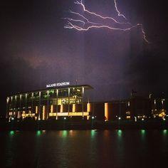 Lightning over McLane Stadium at Baylor University