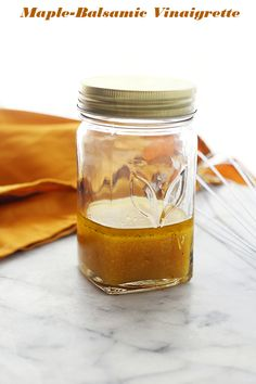 Maple-Balsamic Vinaigrette - A classic vinaigrette salad dressing made with maple syrup and dijon mustard. It's wonderful on salads, pastas, and works great as a marinade for meats.