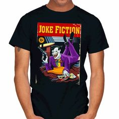 Joker T-Shirt by Paweł Hudeczek aka DAObiwan. Show everyone that you are a fan of Joker with this Pulp Fiction parody t-shirt. Joker T Shirt, Pulp Fiction, Jokes, Batman Stuff, Gotham, Sleeves, Mens Tops, Shirts, Shirt