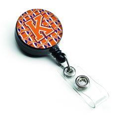 Letter K Football Orange, White and Regalia Retractable Badge Reel CJ1072-KBR