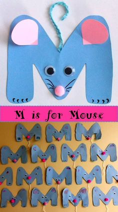 Letter M craft. Cute and easy! You can find the complete set of crafts for the u. - Letter M craft. Cute and easy! You can find the complete set of crafts for the upper case letters i - Preschool Letter Crafts, Alphabet Letter Crafts, Abc Crafts, Mouse Crafts, Preschool Projects, Daycare Crafts, Kids Crafts, Preschool Art, Preschool Activities