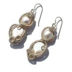 Large Wirework Pearl Earrings in Sterling Silver from the Modern Mermaid Collection by KosmicKrystals